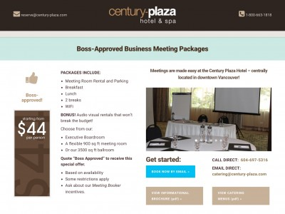 CENTURY PLAZA HOTEL SPECIAL PACKAGE LANDING PAGE